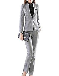 レディース スーツ ジャケット 長袖 パンツスーツ 2点セット 上下セット パンツ セット オフィス クールビズ エレガント きれいめ 大きい サイズ 細身 シルエット スーツセット フォーマル (L)