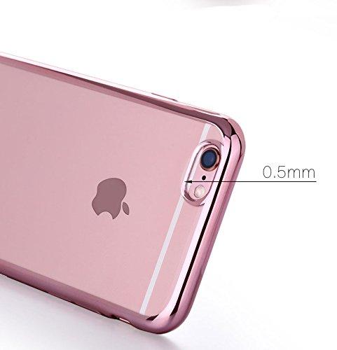 『Rovski iPhone6s Plus ケース iPhone6 Plus ケース 弧状設計 脱着簡単 超薄型耐衝撃 保護キャップ 一体型 ソフト TPU ケース(ローズゴールド)』の4枚目の画像
