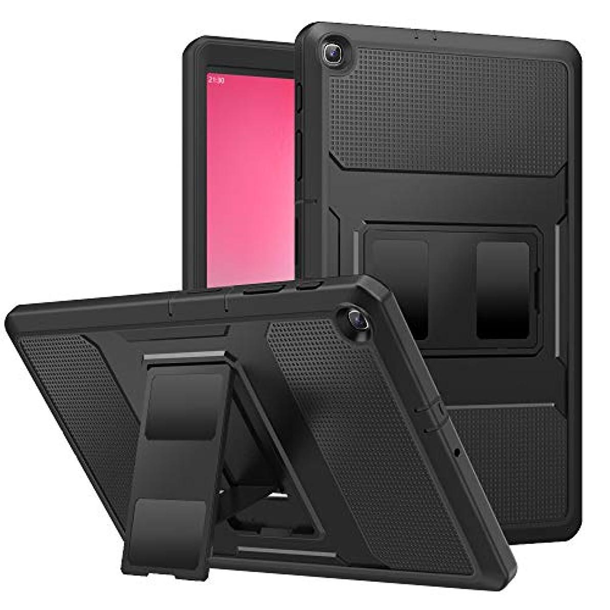 エール寄り添うワーディアンケースATiC Samsung Galaxy Tab A 10.1 2019(T510) カバー タブレットケース 2019 NEW モデル 360度全面保護型 薄型 軽量 PC+TPU素材 スタンドカバー PETフィルム付き Black