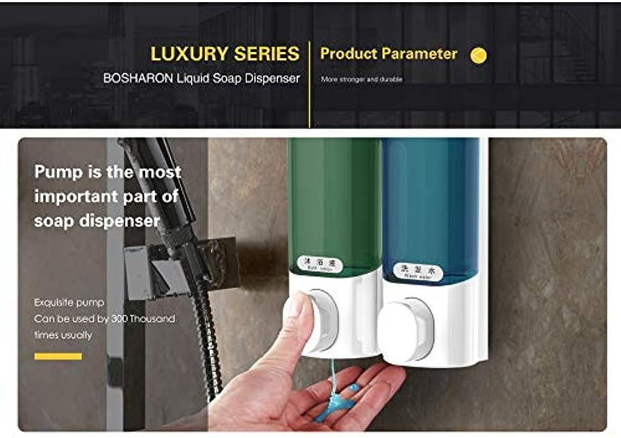 温度計透けるグリーンランド2個 キッチン液体ハンドソープディスペンサー壁掛けABSプラスチックディスペンサーシャンプーボディウォッシュ洗剤ホームバスルームアクセサリー