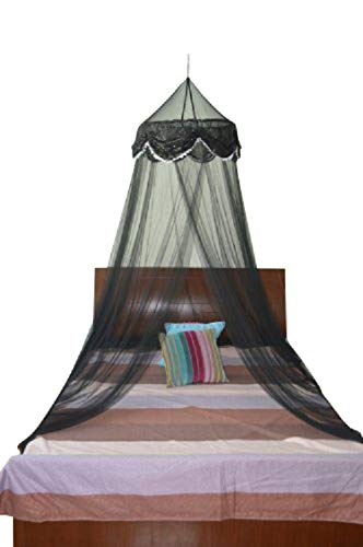(Black) - OctoRose Sequins Bed Canopy Mosquito Net for All Size Bed, Dressing Room, Out Door Events (Black)