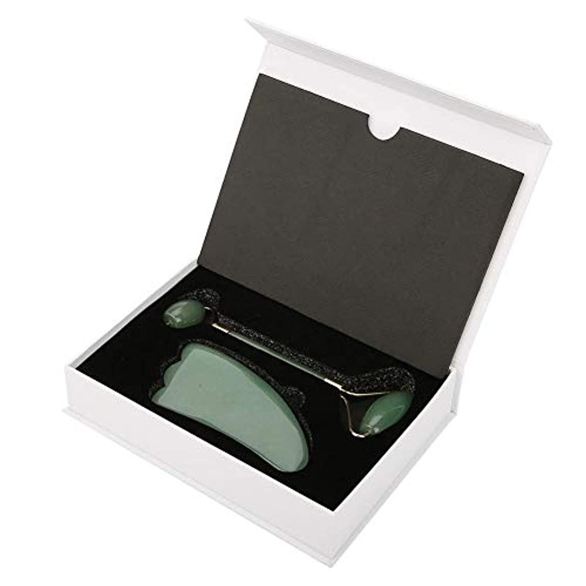 静かに多分静めるダブルヘッドクォーツフェイスローラーとグアシャ削りツールギフトセット、クリスタルワンドローラーフェイスクリスタルローラー美容マッサージツールギフトセット(緑)