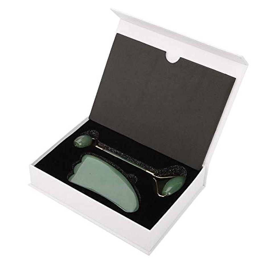 ダブルヘッドクォーツフェイスローラーとグアシャ削りツールギフトセット、クリスタルワンドローラーフェイスクリスタルローラー美容マッサージツールギフトセット(緑)