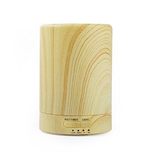 Nikatto 加湿器 アロマディフューザー 超音波式 空焚き防止 木目調 卓上 LED おしゃれ 計量カップ付き 花粉対策 お祝いギフト 円柱形 100ML (木目)