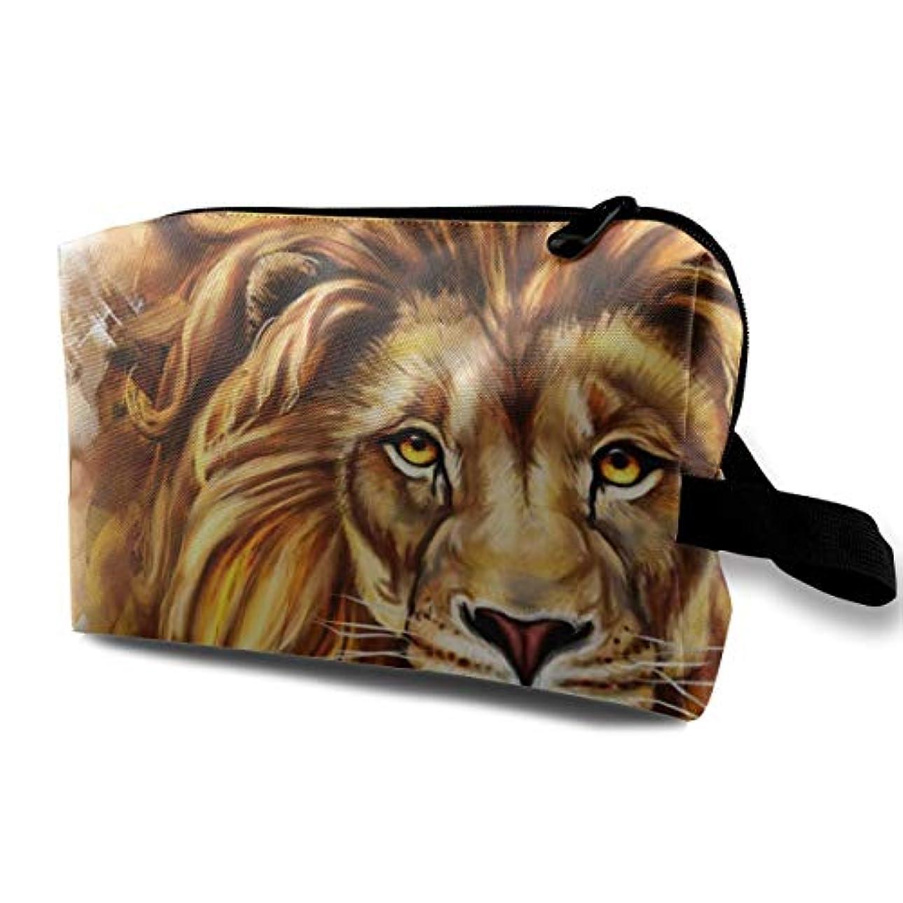 ゼロレバー寸前Cool Lion 収納ポーチ 化粧ポーチ 大容量 軽量 耐久性 ハンドル付持ち運び便利。入れ 自宅?出張?旅行?アウトドア撮影などに対応。メンズ レディース トラベルグッズ