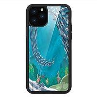 iPhone 11 Pro Max 用 強化ガラスケース クリア 薄型 耐衝撃 黒 カバーケース 航海 サンゴ礁の熱帯魚 iPhone 11 Pro 2019用 iPhone11 Proケース用