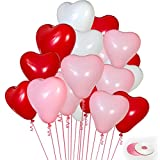 100Pack Heart Shaped Balloons, White Light Pink Red Heart Balloons Premium Helium Love Latex Balloons for Wedding Valentine's Day Decorations(with Pink & White Ribbon)