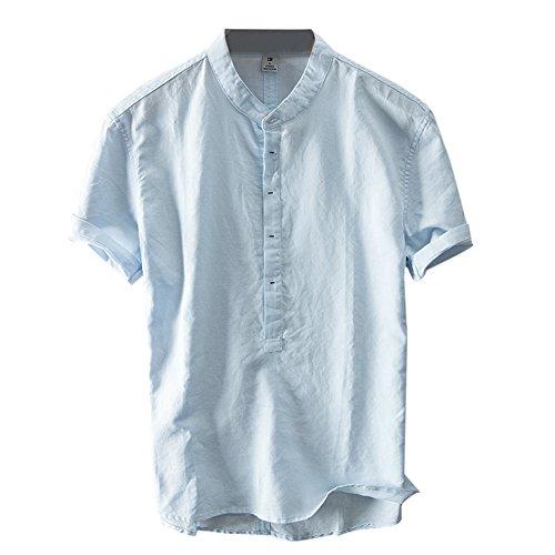 BESTLEE シャツ メンズ 半袖 詰め襟 Tシャツ メンズ 無地 おしゃれ カットソー ブルー 3XL