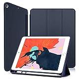Wonzir 新しい iPad Air 10.5 ケース (2019モデル) Apple Pencil 収納可能 スタンド機能 iPad Air3 10.5 インチ (2019新型) 保護カバー 軽量 薄型 シンプル 三つ折タイプ 全面保護型 傷つけ防止 iPad air3 2019 手帳型 ケース PU 便利なペンホルダー付き (iPad Air3 10.5, ブルー)