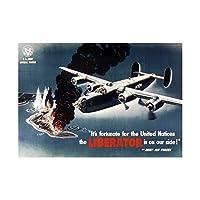 War WWII Liberator Bomber Plane Island Fire Wall Art Print 戦争第二次世界大戦爆撃機飛行機島火災壁