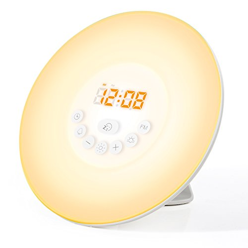 Mospro(モスプロ) ウェイクアップライト Wake Up Light 目覚まし時計 FMラジオ USB充電&乾電池 両用 6色変換 音量調節 ベッドサイドランプ