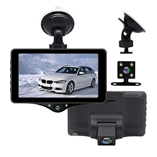 AKEEYO ドライブレコーダー 前後カメラ 32GB MSDカード付属 1080P 3カメラ搭載 前方/後方/車内 同時撮影 車載カメラ 4inchタッチパネルWDR 赤外線暗視 G-Sensor 常時録画 ドラレコ 音声記録 電子版日本語取扱説明書 1年保証_AKY-D6