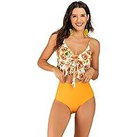Barbarra Fashion Women Two Piece Flounce Swimsuit High Waist Bikini Set High V Neckline Ruffle Printed Swimwear Thin Shoulder Straps Bathing Suit Halter Backless