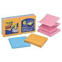 Post - it ®スーパースティッキーポップアップノートr330–6ssan , 3in x 3in、アソートカラーElectricグロー色、90Shts /パッド、6Pads /パック