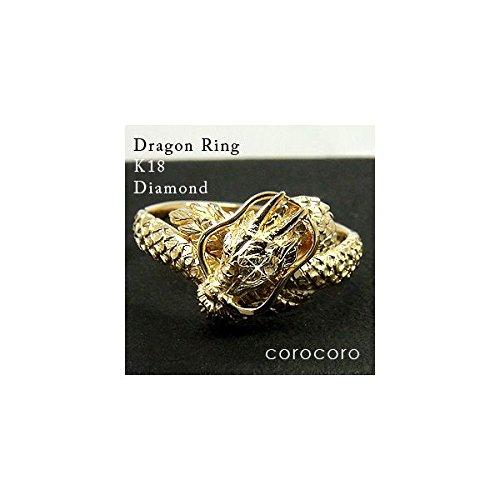 ゴールドリングドラゴン龍ダイヤモンド0.01ctメンズリングK18竜指輪