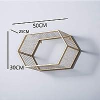 ウォールシェルフ シンプルな錬鉄製の壁掛け六角形のストレージラック/創造的な家の壁の装飾フレーム、ディスプレイスタンド(3色、50 * 25 * 30センチメートル)。 (色 : ゴールド)