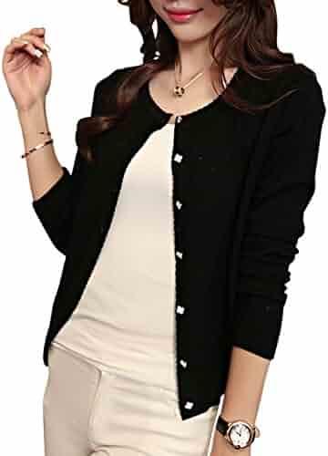 eac49f54 Cholmo Women's Cardigan Knit Sheer Lace Knit Long Sleeve 3/4 Sleeve Bolero  Style Spring