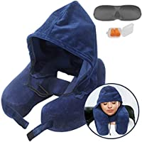 Neck Pillow Inflatable Travel Pillow Comfortably Supports The Head, Neck and Chin, Airplane Pillow with Soft Velour Cover, Hat, Portable Drawstring Bag, Eye Mask and Earplugs (Blue)