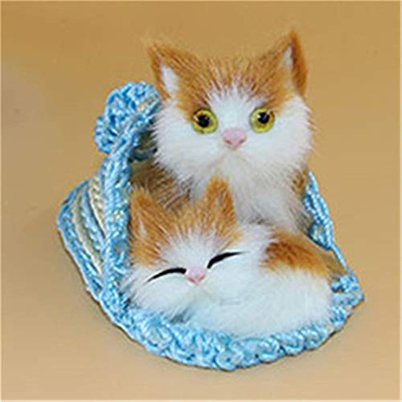 JEWH キュートな人造動物マザー 猫と子猫 - ぬいぐるみ人形 ソフトキャットトイ フレーム付き - 子供のおもちゃデコレーション 誕生日ギフト(1個)