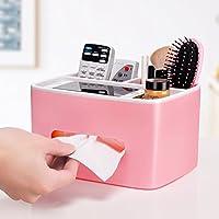 ティッシュケース ティッシュボックスプラスチック長方形ティッシュ収納ボックスバスルームリビングルームオフィスセダン装飾ティッシュボックス (色 : Pink)