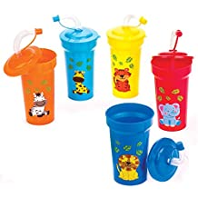 Jungle Chums Bendy Straw Cups. Party Bag Fillers for Kids Parties. - Pack of 5