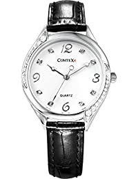 Comtex 時計 ブラック 革バンド アナログ クォーツ ウオッチ 女性用 腕時計 レディース