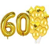 Sweet 60th Birthday Decorations パーティー用品 金色の数字 60個のバルーン 60個のアルミ箔のマイラーバルーン ラテックスバルーンデコレーション 女の子、女性、男性、写真撮影用小道具の60歳の誕生日プレゼントに最適