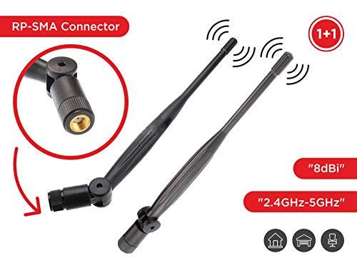 ユニバーサルWiFiアンテナ 8dBi 2.4Ghz/5Ghz/5.8Ghz RP-SMAコネクター ルーター、USBアダプター、PCIEカード、IPカメラ、ワイヤレスレンジエクステンダー用 2個