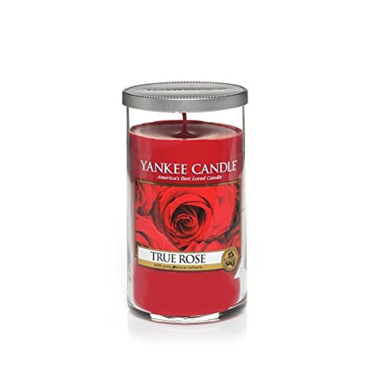 リフトロマンスにじみ出るYankee Candles Medium Pillar Candle - True Rose (Pack of 6) - ヤンキーキャンドルメディアピラーキャンドル - 真のバラ (x6) [並行輸入品]