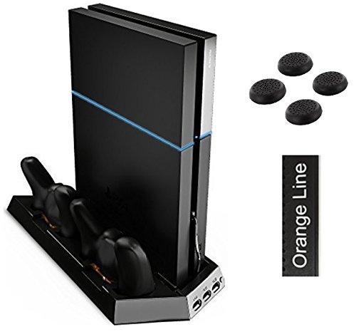 PS4 多機能縦置きスタンド コントローラー2台充電 USBハブ3ポート 【騒音ファン無し】 【1年保証付き】【ブラック】【Orange Line】