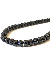 特大玉 ブラックスピネル ネックレス ダイヤカット 太さ 6.3mm 長さ 55cm メンズ レディース