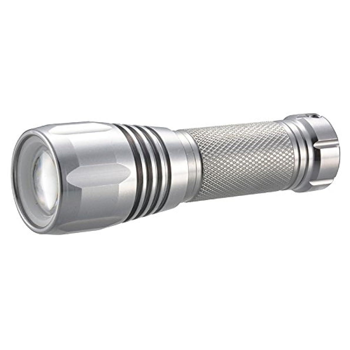 国民近似マイル懐中電灯 LEDズームライト 防水 IPX6 125lm 単3×1 LEDIANTOR ZOOM OHM LHA-DA312ZI-S 07-9695 オーム電機