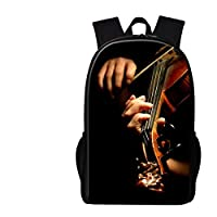 バックパック 男性のカジュアルバイオリン印刷ランドセル小学生のため音楽子供 図書袋 s