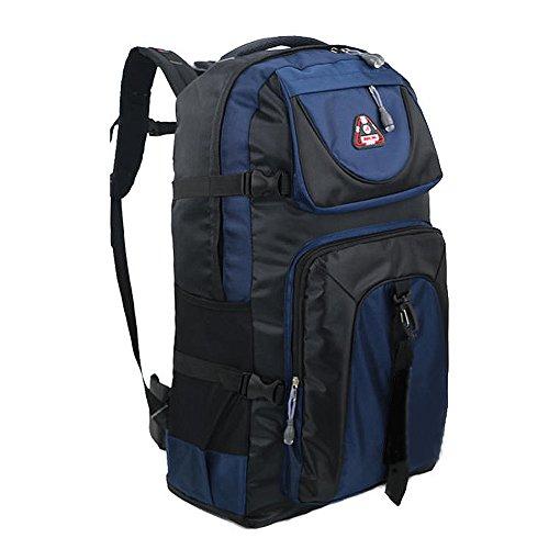 3077f2da2890 Rimocy 登山リュック 大容量 60L バックパック 防災グッズ アウトドア 防水 丈夫 バックパック バッグ (青)  超軽量耐水性のナイロン生地です。