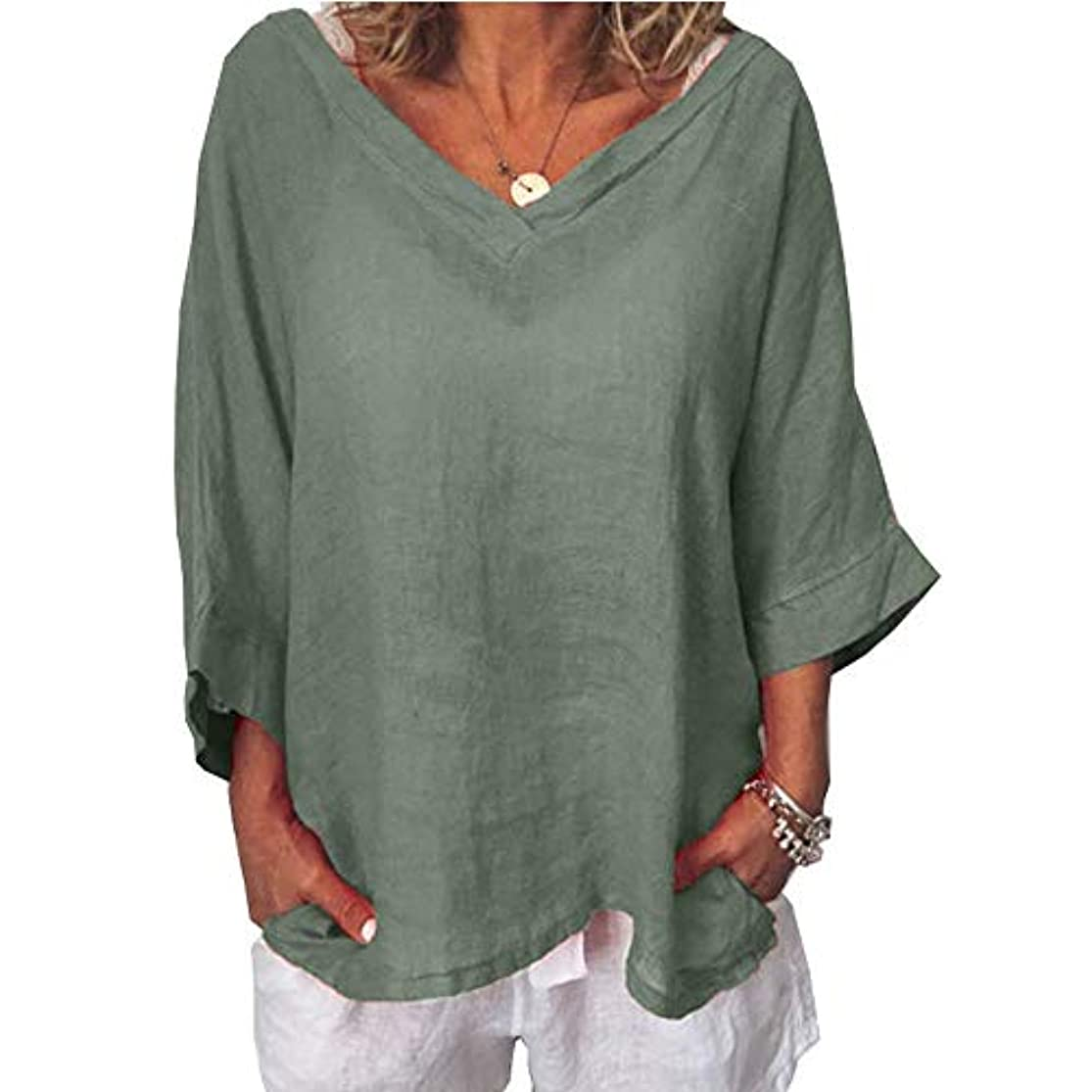 自発的着飾るマットレスMIFAN女性ファッションカジュアルVネックトップス無地長袖Tシャツルーズボヘミアンビーチウェア