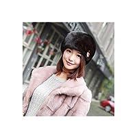 CXBH [耳保護]レディース毛皮の帽子冬の暖かい毛皮の帽子、多くの色がありますダークブラウン、ワインレッドの最高の贈り物 (Color : Dark brown, Size : L)