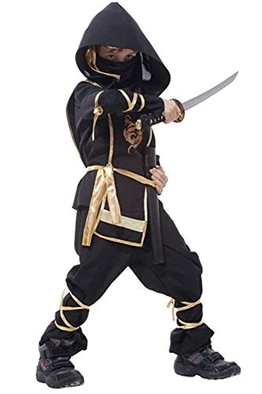 (eones)忍者 コスプレ ハロウィン 衣装 子供用 ステルス キッズコスチューム 仮装 7点セット (L)