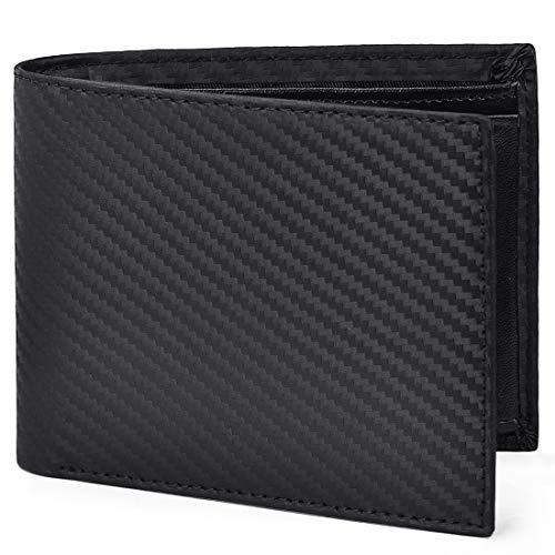 NEWHEY 財布 メンズ 二つ折り カーボンレザー 本革 BOX型小銭入れ スキミング防止 防水 カード収納 お札入れ 大容量 化粧箱付き ブラック
