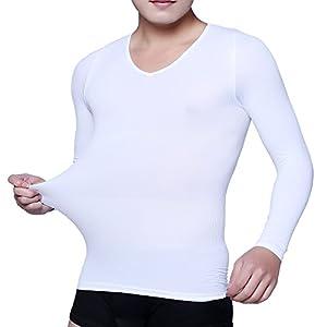 筋肉革命 コンプレッションウェア 加圧シャツ 長袖 加圧インナー メンズ お腹引締め 3枚セット Mサイズ ホワイト kaatulongtM白3