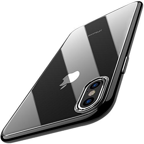 TOZO® iPhone X ケース iPhone 10 / X用 TPU ソフト クリア スリム シリコンケース 超薄型[1.0mm] 保護ケース ブラック[メッキエッジ]