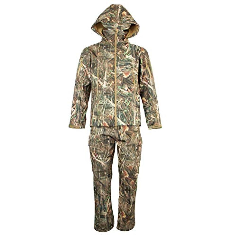 本租界先祖B Blesiya 狩猟服 戦闘服 迷彩服 ジャケット+パンツ メンズ 長袖 フード付き 防風 通気 防水
