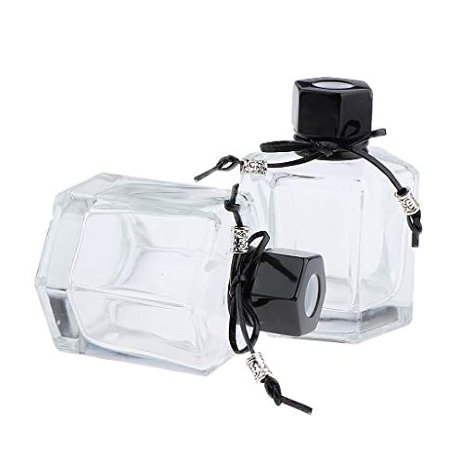 卑しい冬衝撃IPOTCH 2個 香水ディフューザーボトル 六角形スクリューキャップ ガラス クリアボトル 2色選べ - ブラック
