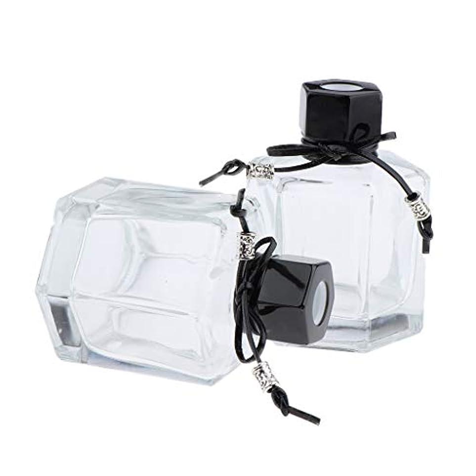 ハイジャック悲観主義者フェンスIPOTCH 2個 香水ディフューザーボトル 六角形スクリューキャップ ガラス クリアボトル 2色選べ - ブラック