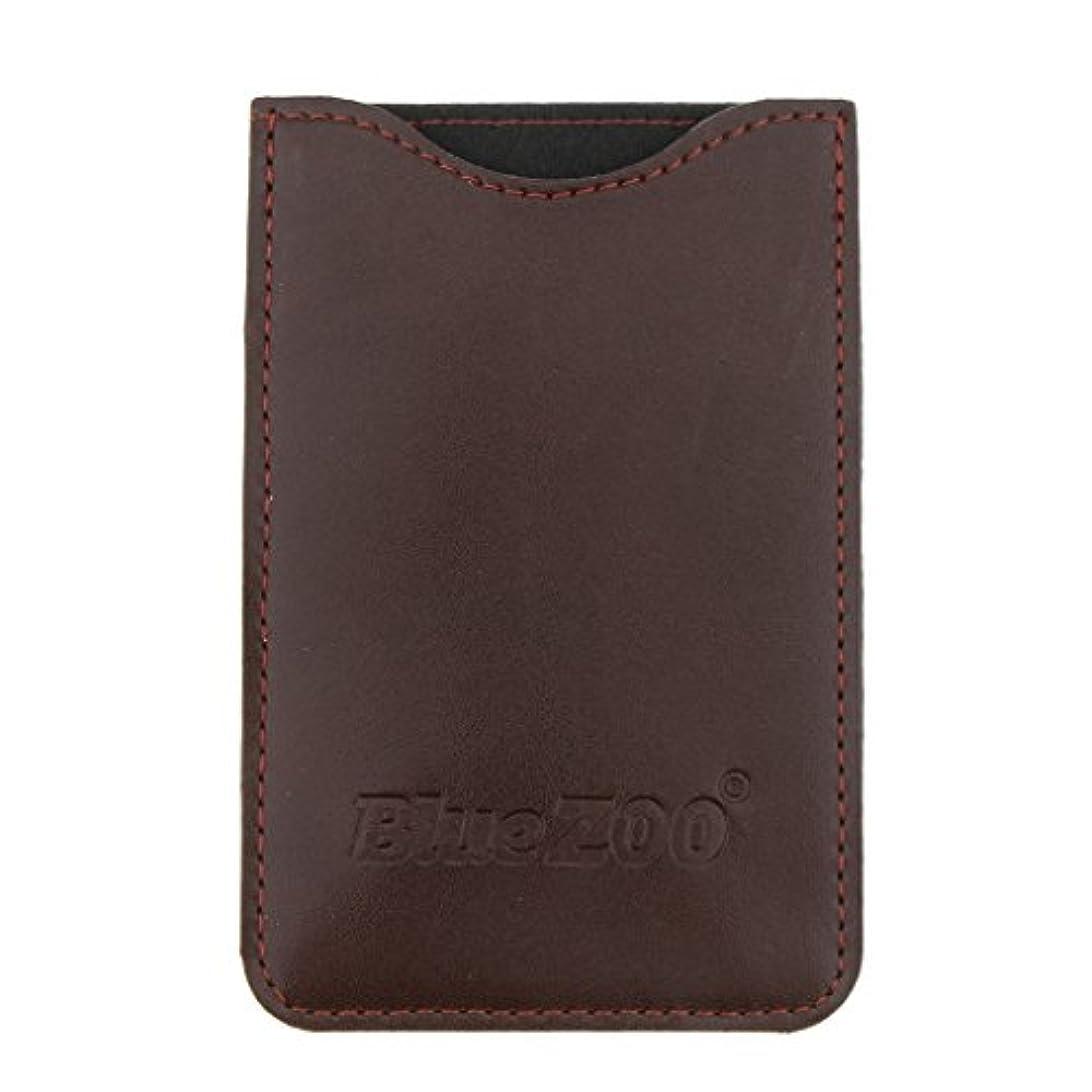 どこ本気克服する木製のポケットヒゲの櫛の保護収納ポーチ、小さな櫛PUレザーケース - 褐色