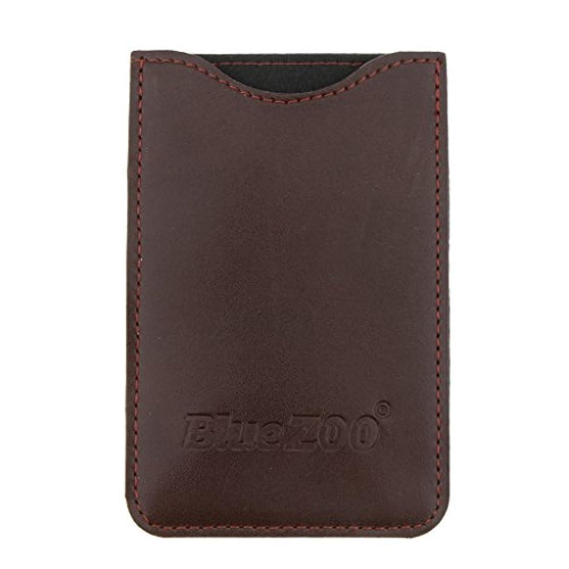 滑り台本ワゴン木製のポケットヒゲの櫛の保護収納ポーチ、小さな櫛PUレザーケース - 褐色