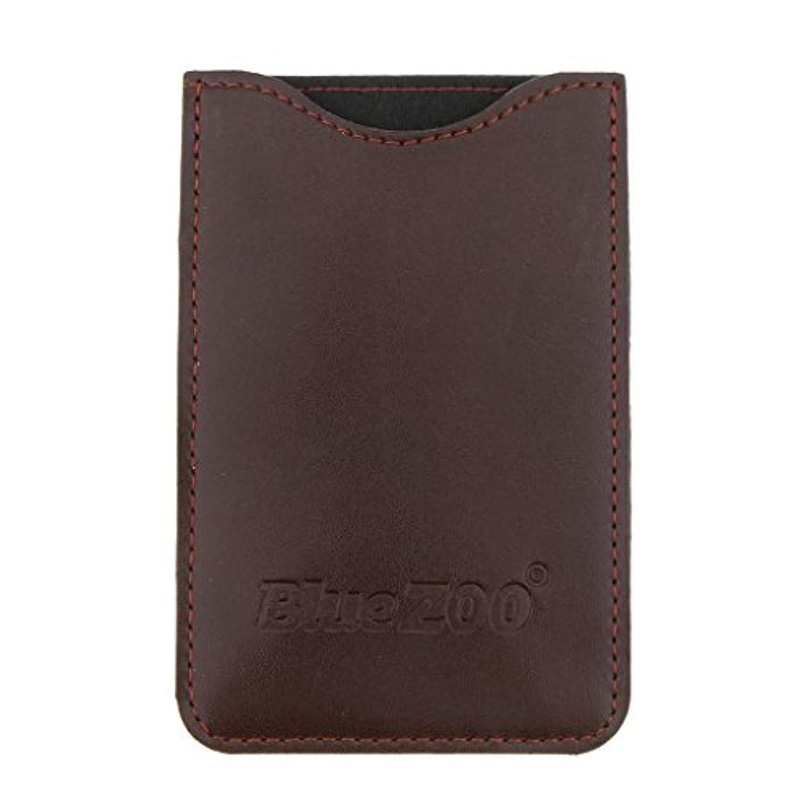 流出液化するチャップ木製のポケットヒゲの櫛の保護収納ポーチ、小さな櫛PUレザーケース - 褐色