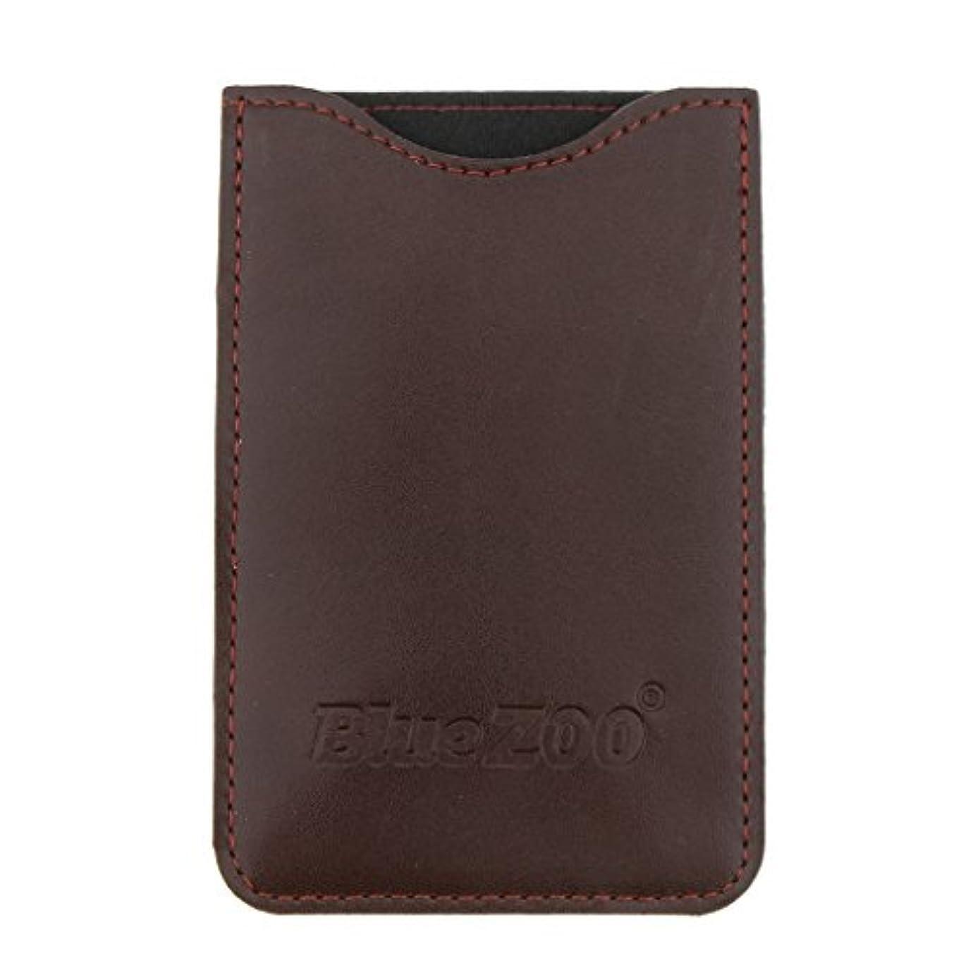 処理完璧男らしい木製のポケットヒゲの櫛の保護収納ポーチ、小さな櫛PUレザーケース - 褐色