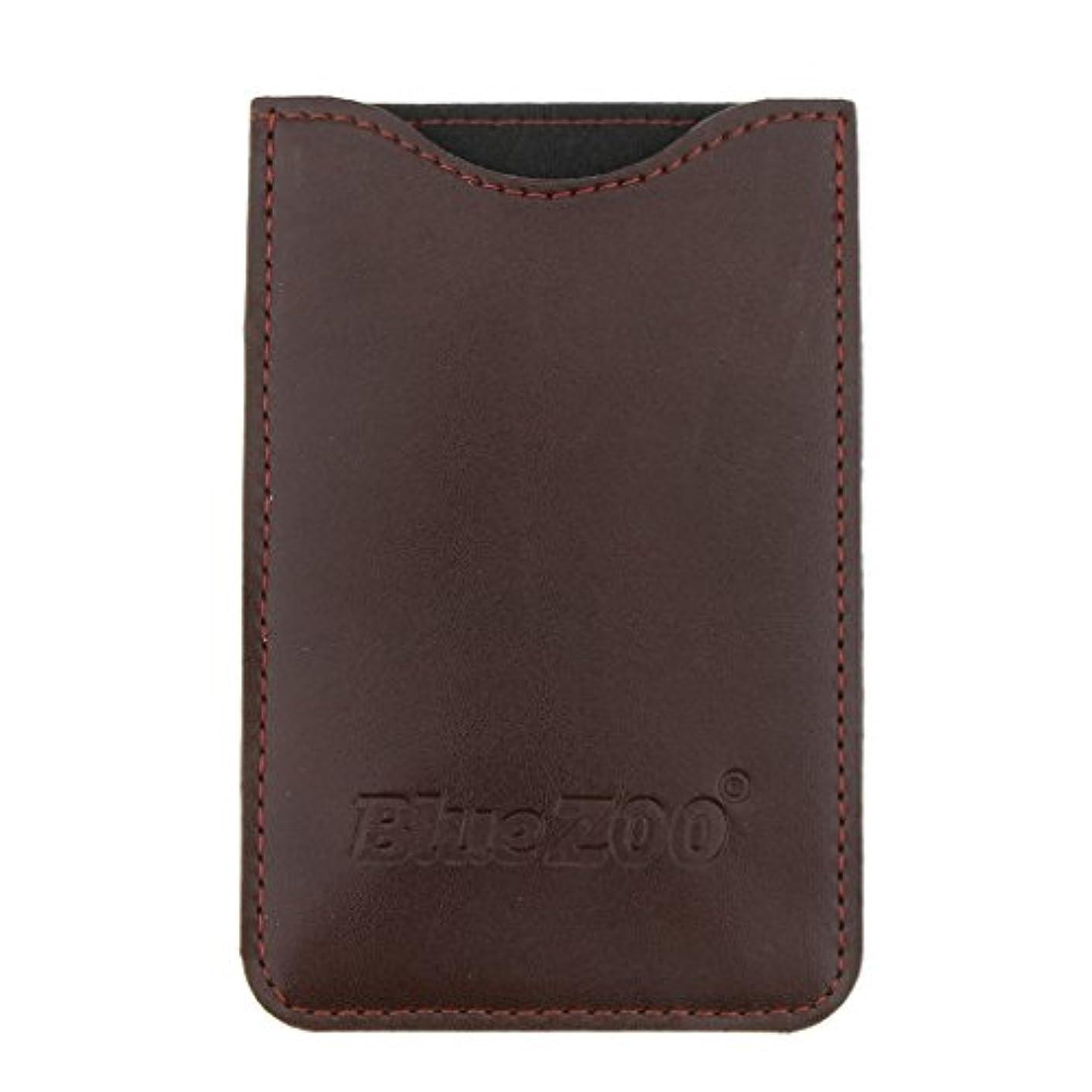 過度にほこりっぽいペルソナ木製のポケットヒゲの櫛の保護収納ポーチ、小さな櫛PUレザーケース - 褐色
