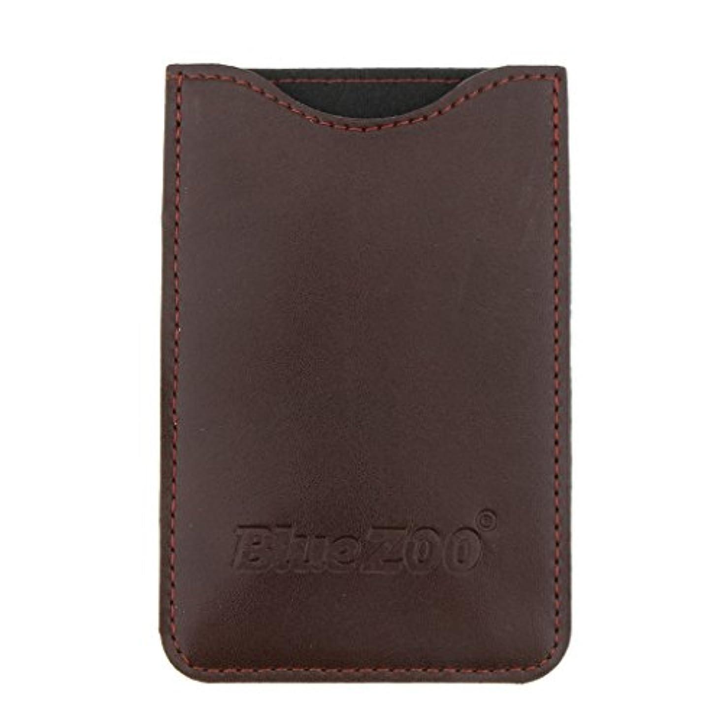 おしゃれなクロニクル哀木製のポケットヒゲの櫛の保護収納ポーチ、小さな櫛PUレザーケース - 褐色