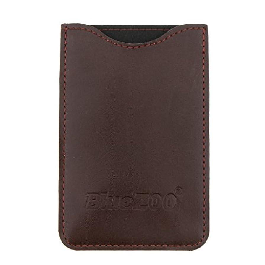 木製のポケットヒゲの櫛の保護収納ポーチ、小さな櫛PUレザーケース - 褐色